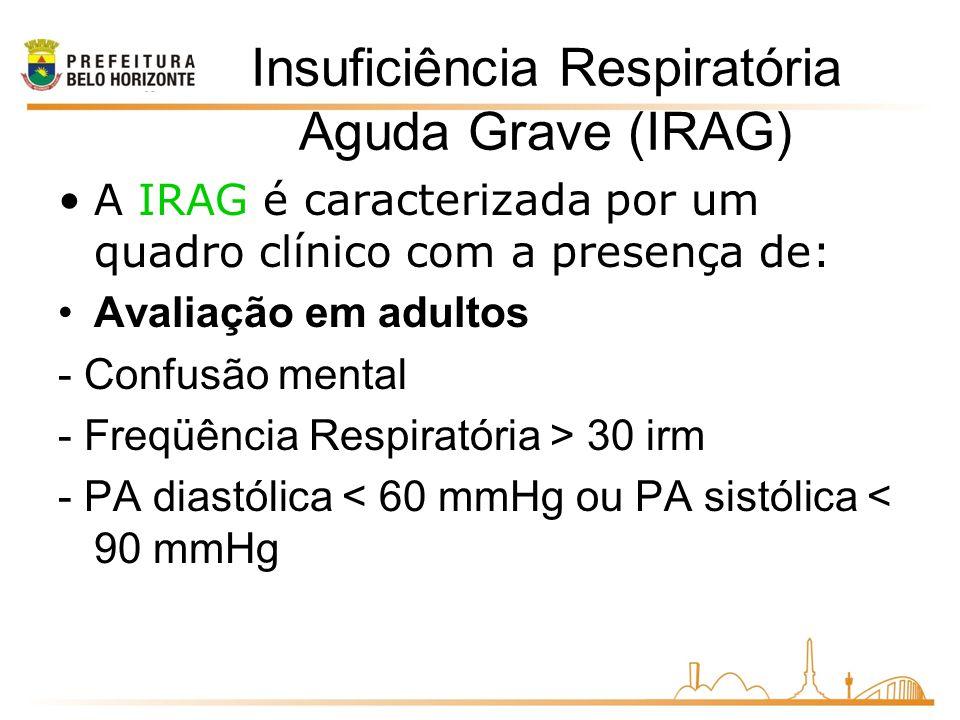 Insuficiência Respiratória Aguda Grave (IRAG) A IRAG é caracterizada por um quadro clínico com a presença de: Avaliação em adultos - Confusão mental - Freqüência Respiratória > 30 irm - PA diastólica < 60 mmHg ou PA sistólica < 90 mmHg