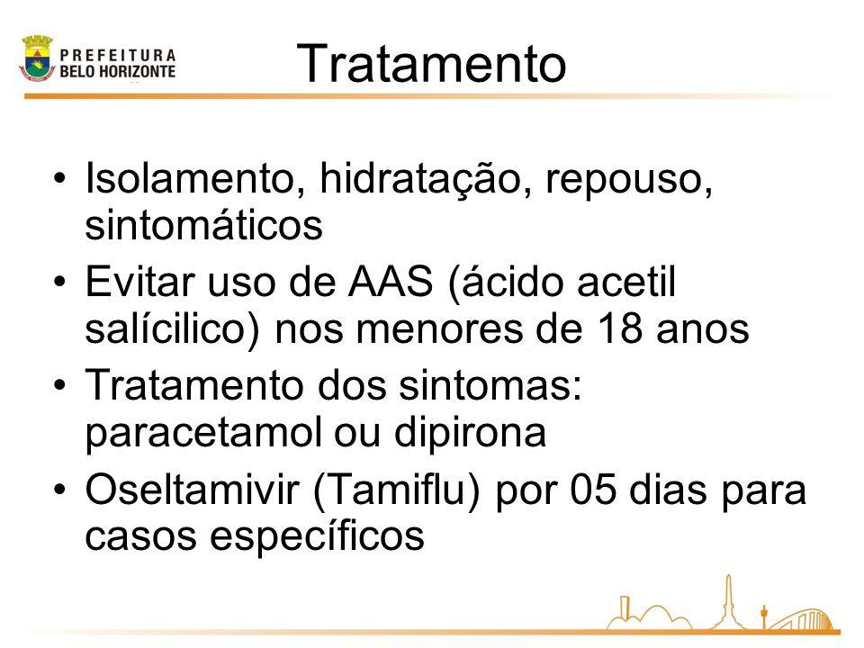 Tratamento Isolamento, hidratação, repouso, sintomáticos Evitar uso de AAS (ácido acetil salícilico) nos menores de 18 anos Tratamento dos sintomas: paracetamol ou dipirona Oseltamivir (Tamiflu) por 05 dias para casos específicos