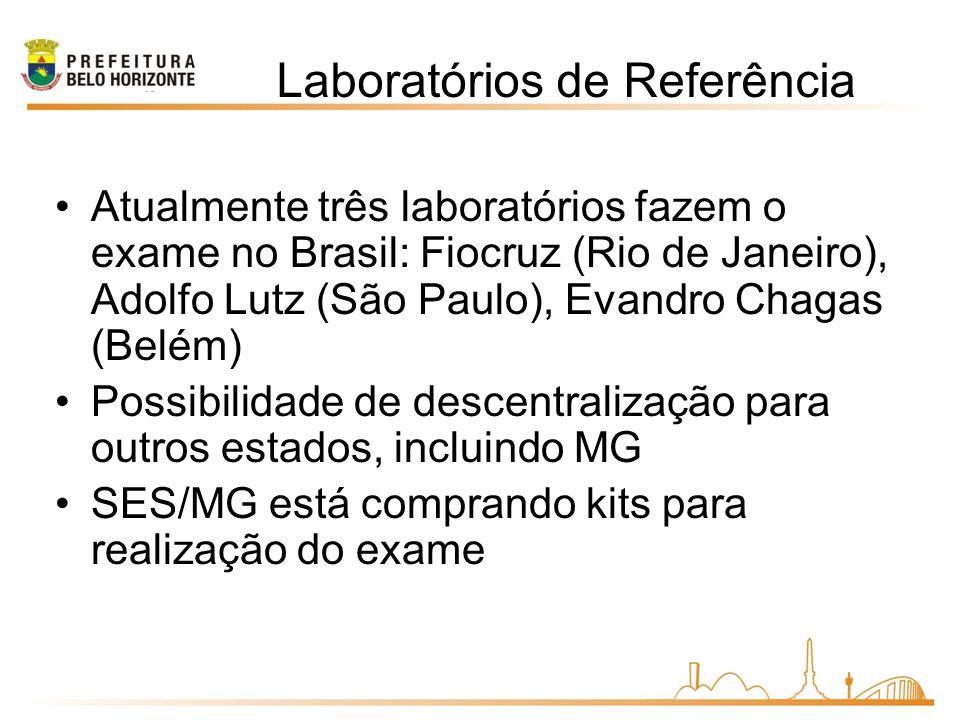 Atualmente três laboratórios fazem o exame no Brasil: Fiocruz (Rio de Janeiro), Adolfo Lutz (São Paulo), Evandro Chagas (Belém) Possibilidade de descentralização para outros estados, incluindo MG SES/MG está comprando kits para realização do exame Laboratórios de Referência