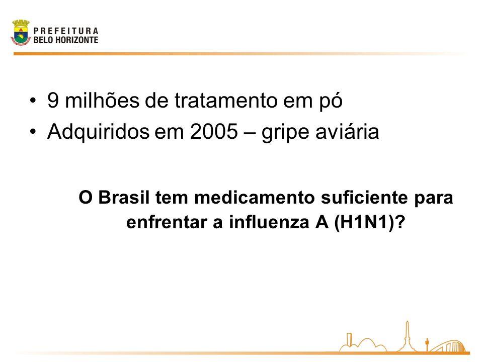 O Brasil tem medicamento suficiente para enfrentar a influenza A (H1N1)? 9 milhões de tratamento em pó Adquiridos em 2005 – gripe aviária