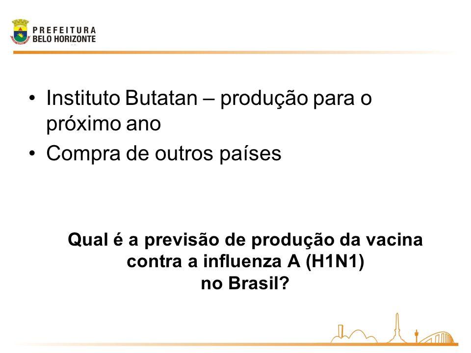 Qual é a previsão de produção da vacina contra a influenza A (H1N1) no Brasil? Instituto Butatan – produção para o próximo ano Compra de outros países