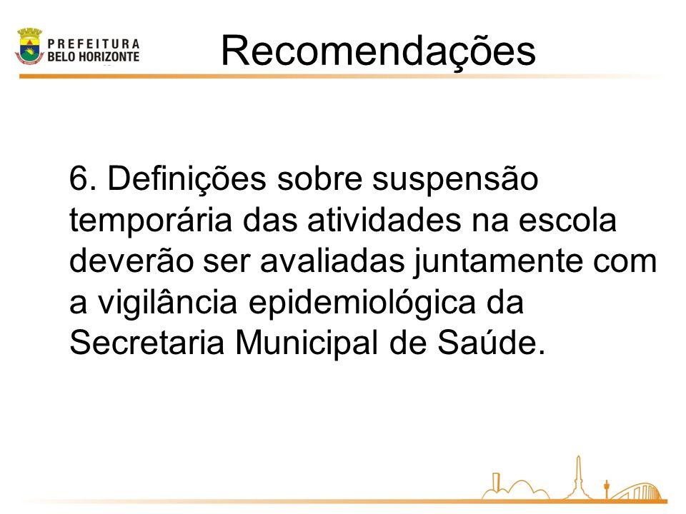 6. Definições sobre suspensão temporária das atividades na escola deverão ser avaliadas juntamente com a vigilância epidemiológica da Secretaria Munic