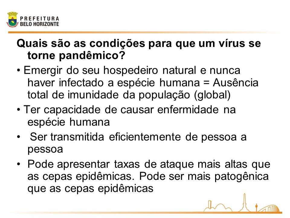 Quais são as condições para que um vírus se torne pandêmico? Emergir do seu hospedeiro natural e nunca haver infectado a espécie humana = Ausência tot
