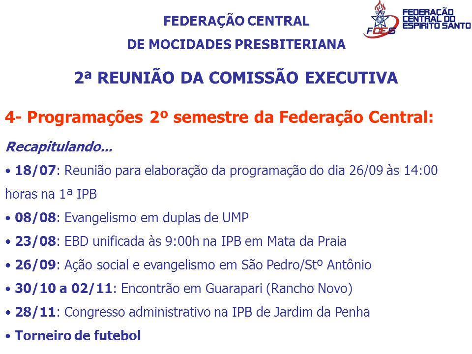 FEDERAÇÃO CENTRAL DE MOCIDADES PRESBITERIANA 2ª REUNIÃO DA COMISSÃO EXECUTIVA 4- Programações 2º semestre da Federação Central: Recapitulando... 18/07
