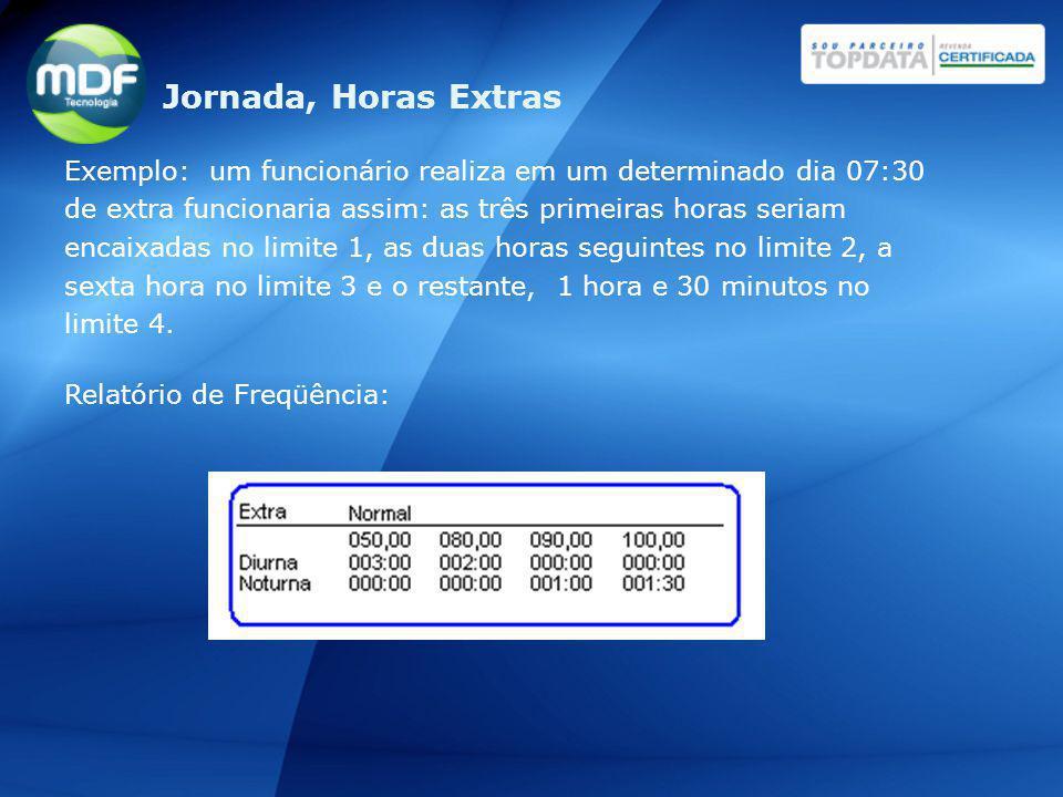 Exemplo: um funcionário realiza em um determinado dia 07:30 de extra funcionaria assim: as três primeiras horas seriam encaixadas no limite 1, as duas