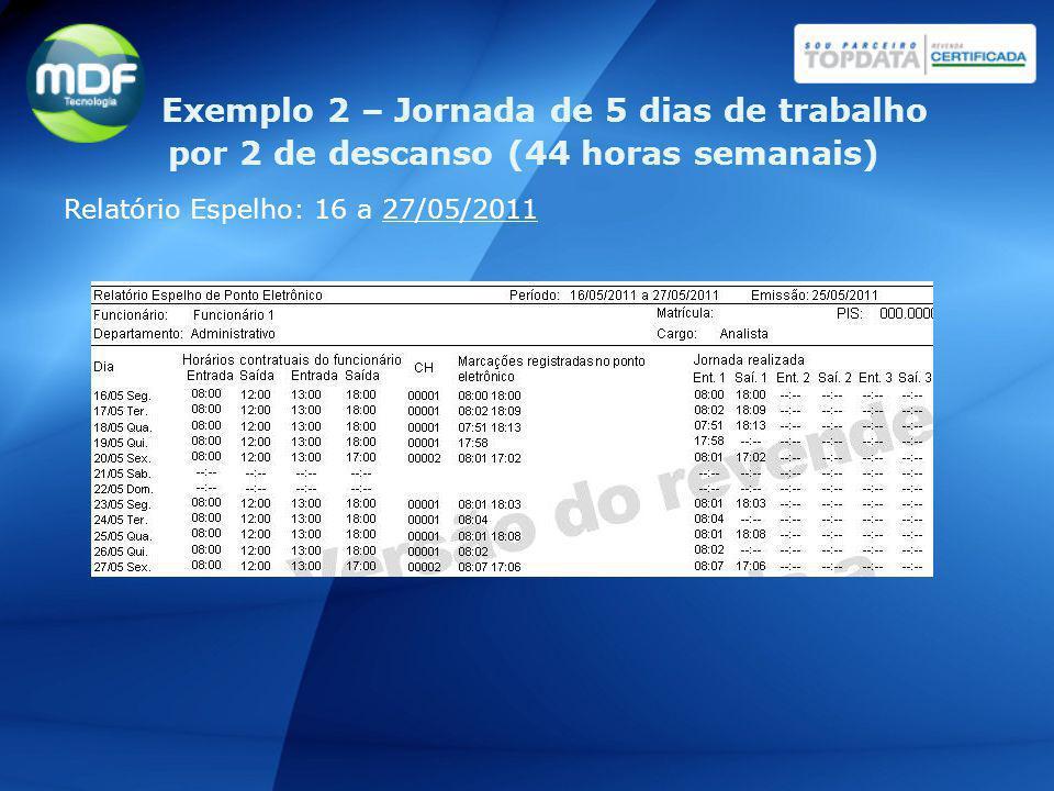 Relatório Espelho: 16 a 27/05/2011 Exemplo 2 – Jornada de 5 dias de trabalho por 2 de descanso (44 horas semanais)