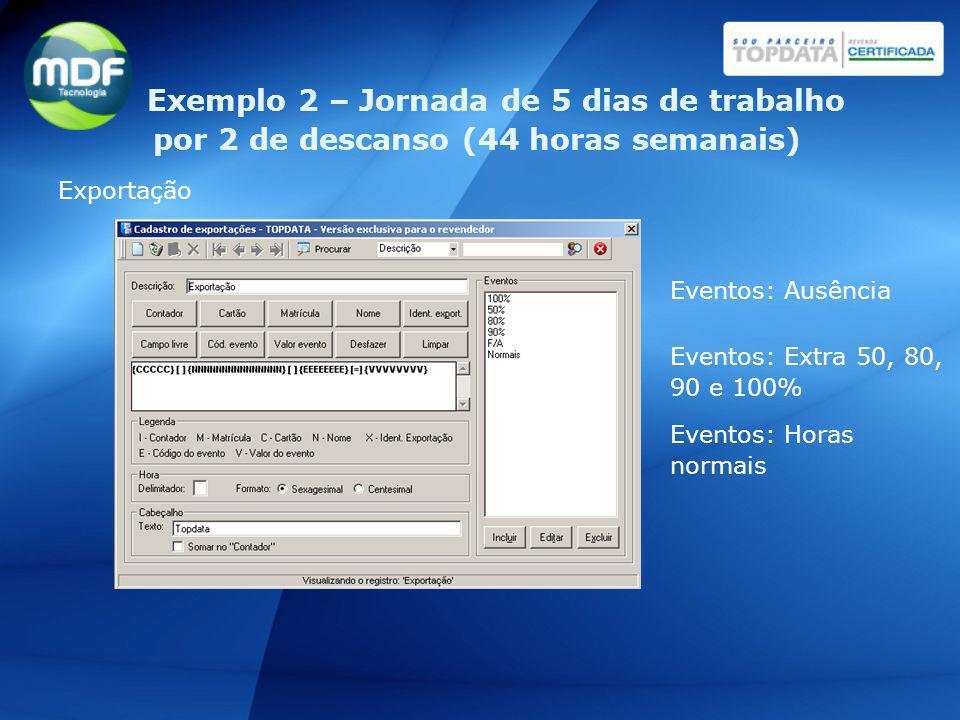 Exportação Eventos: Ausência Eventos: Extra 50, 80, 90 e 100% Eventos: Horas normais Exemplo 2 – Jornada de 5 dias de trabalho por 2 de descanso (44 h