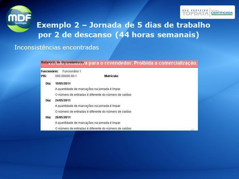 Inconsistências encontradas Exemplo 2 – Jornada de 5 dias de trabalho por 2 de descanso (44 horas semanais)