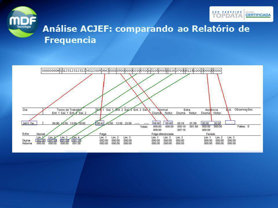 Análise ACJEF: comparando ao Relatório de Frequencia