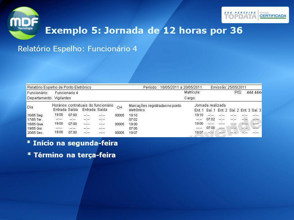 Relatório Espelho: Funcionário 4 * Início na segunda-feira * Término na terça-feira Exemplo 5: Jornada de 12 horas por 36