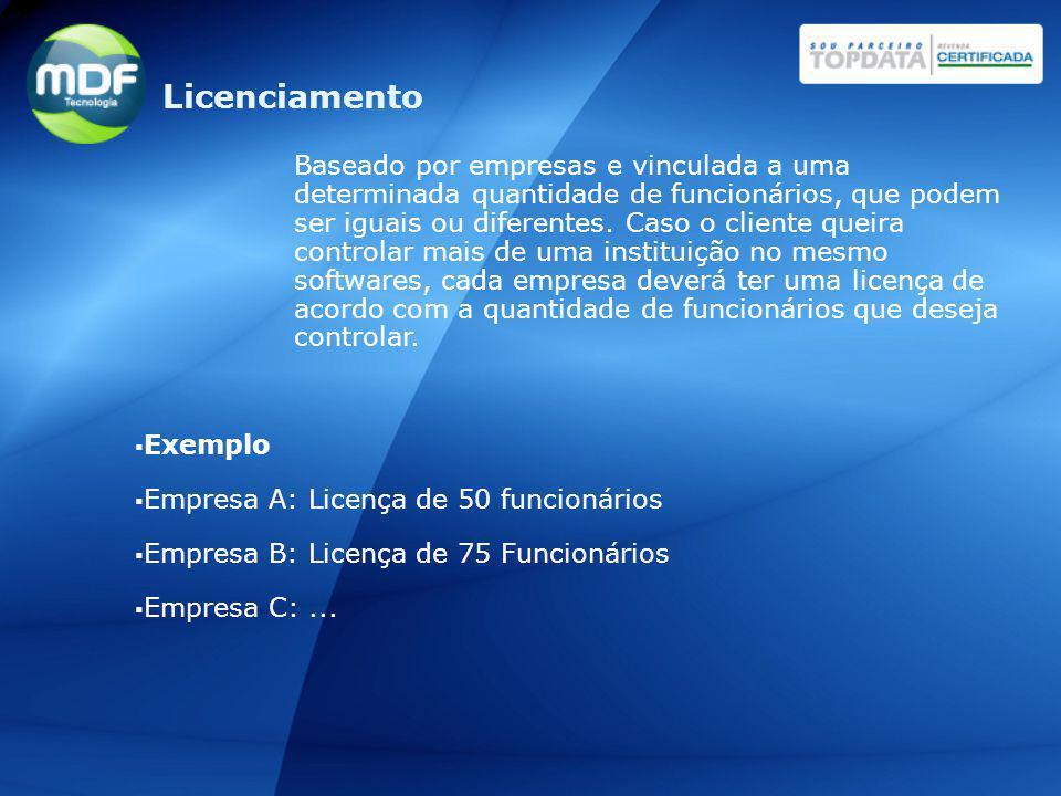 Licenciamento Baseado por empresas e vinculada a uma determinada quantidade de funcionários, que podem ser iguais ou diferentes. Caso o cliente queira