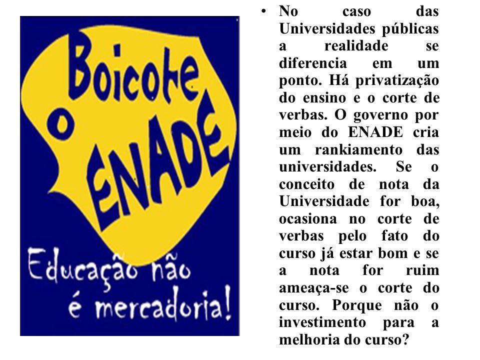 No caso das Universidades públicas a realidade se diferencia em um ponto. Há privatização do ensino e o corte de verbas. O governo por meio do ENADE c