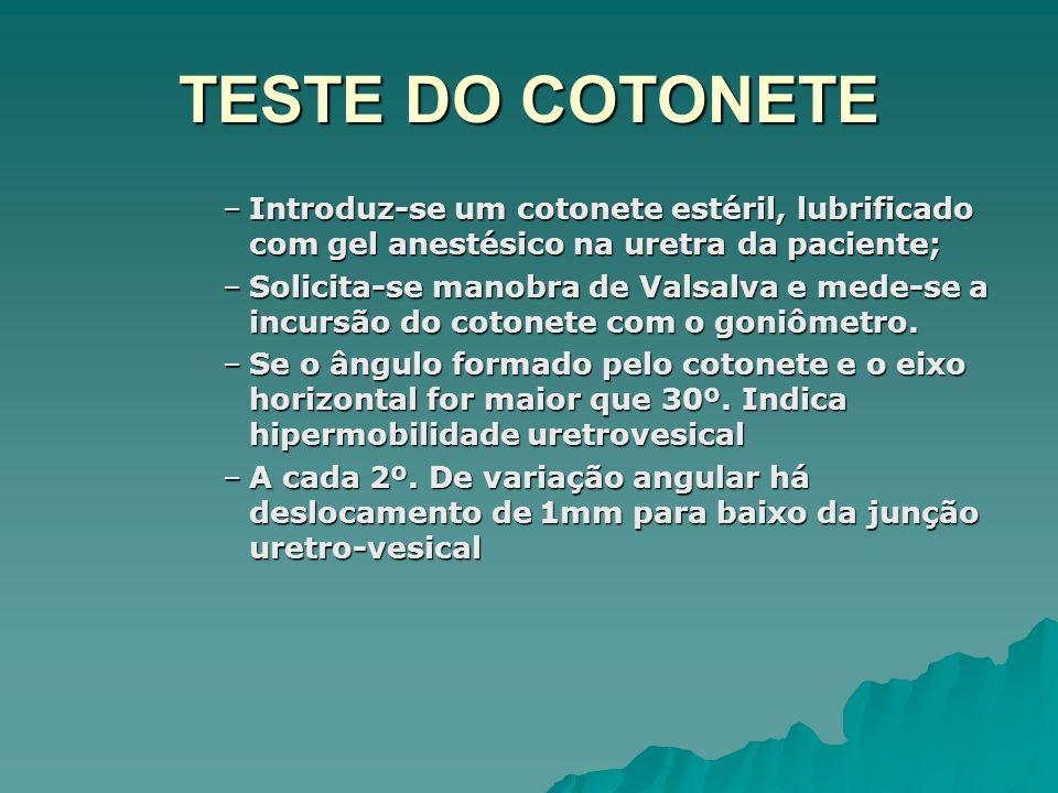 TESTE DO COTONETE –Introduz-se um cotonete estéril, lubrificado com gel anestésico na uretra da paciente; –Solicita-se manobra de Valsalva e mede-se a incursão do cotonete com o goniômetro.