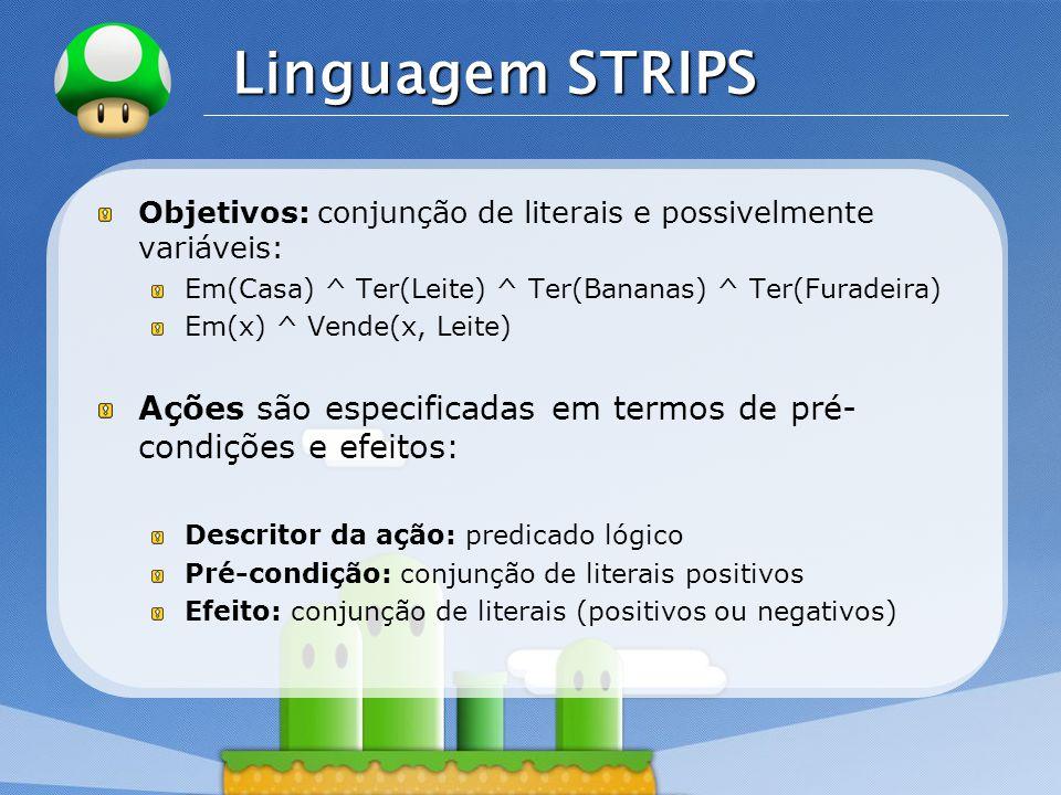 LOGO Linguagem STRIPS Objetivos: conjunção de literais e possivelmente variáveis: Em(Casa) ^ Ter(Leite) ^ Ter(Bananas) ^ Ter(Furadeira) Em(x) ^ Vende(x, Leite) Ações são especificadas em termos de pré- condições e efeitos: Descritor da ação: predicado lógico Pré-condição: conjunção de literais positivos Efeito: conjunção de literais (positivos ou negativos)