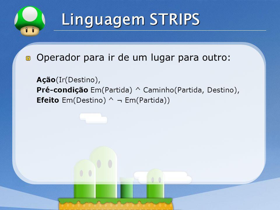 LOGO Linguagem STRIPS Operador para ir de um lugar para outro: Ação(Ir(Destino), Pré-condição Em(Partida) ^ Caminho(Partida, Destino), Efeito Em(Destino) ^ ¬ Em(Partida))