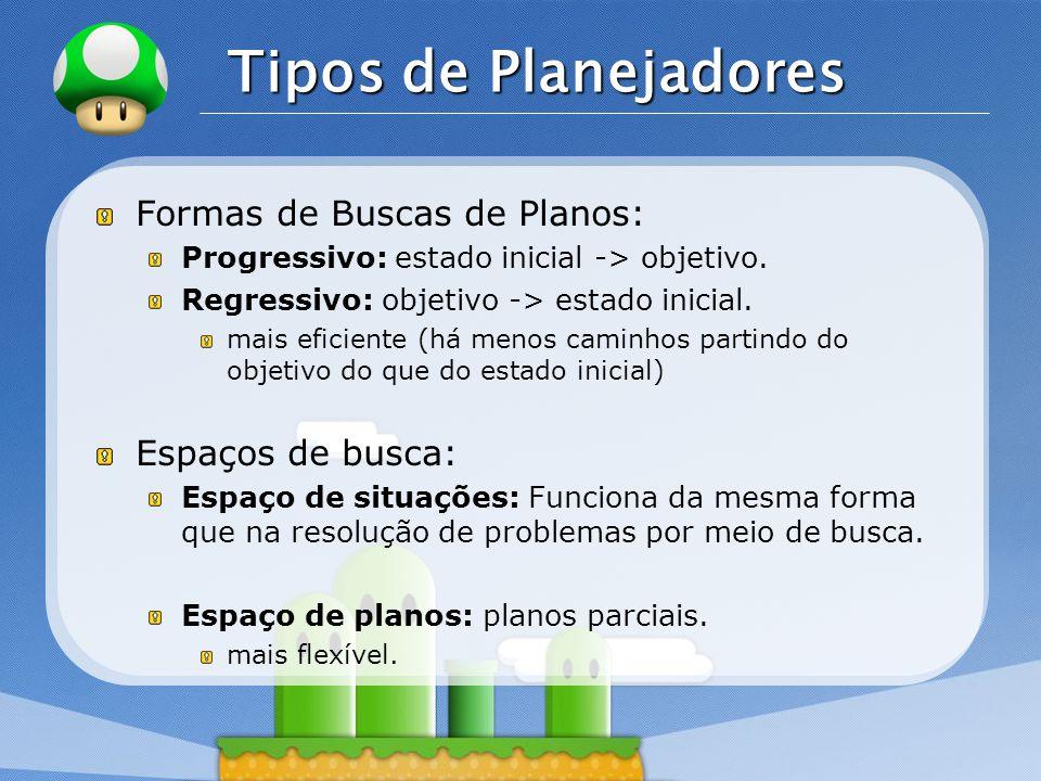 LOGO Tipos de Planejadores Formas de Buscas de Planos: Progressivo: estado inicial -> objetivo.