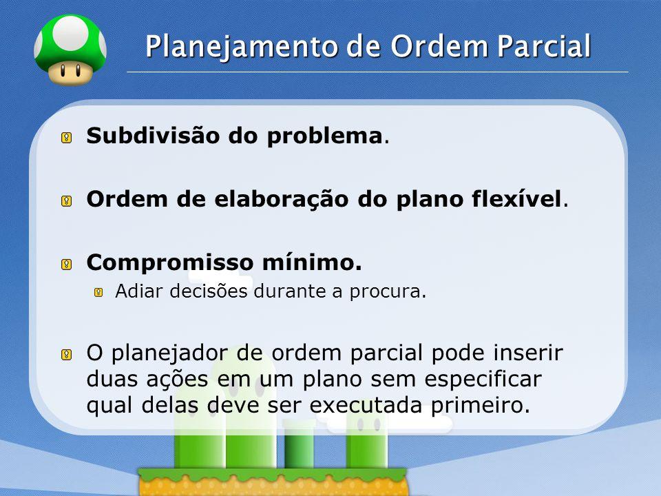 LOGO Planejamento de Ordem Parcial Subdivisão do problema.