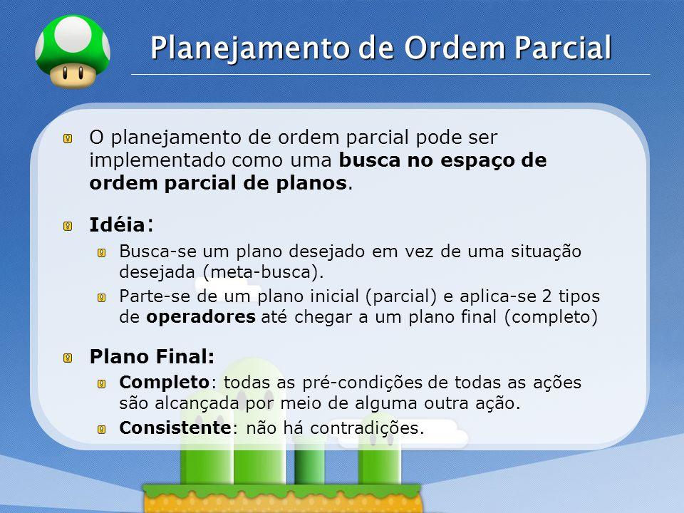 LOGO Planejamento de Ordem Parcial O planejamento de ordem parcial pode ser implementado como uma busca no espaço de ordem parcial de planos.