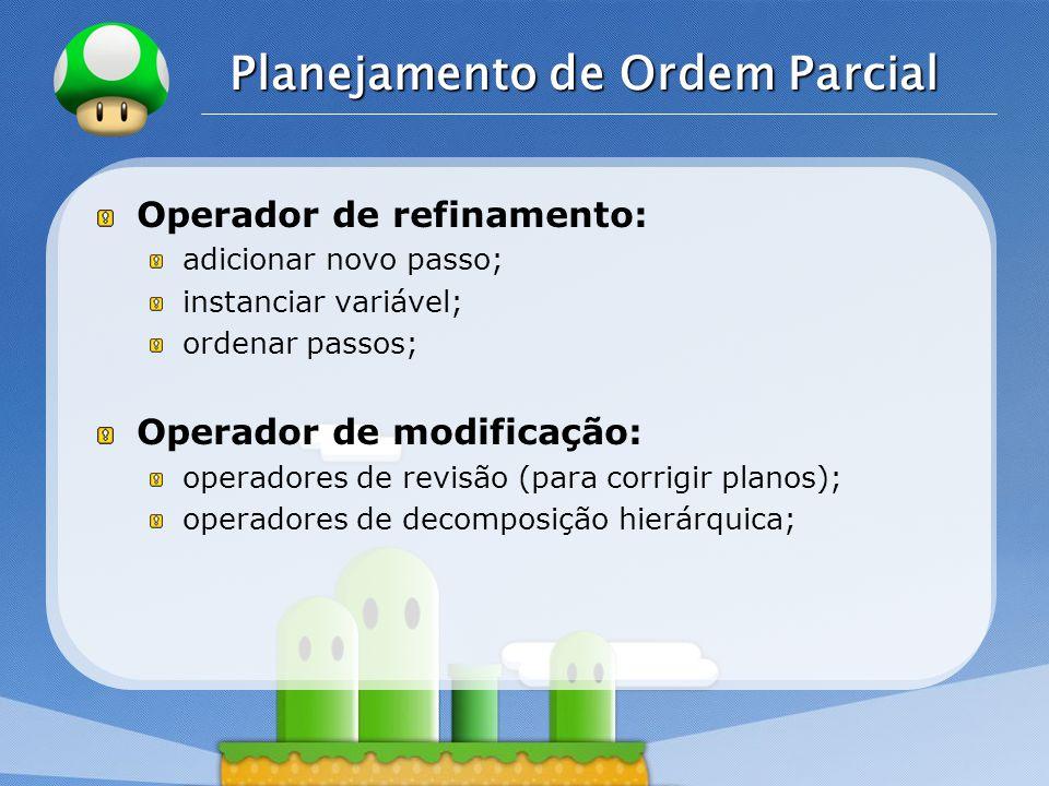 LOGO Planejamento de Ordem Parcial Operador de refinamento: adicionar novo passo; instanciar variável; ordenar passos; Operador de modificação: operadores de revisão (para corrigir planos); operadores de decomposição hierárquica;