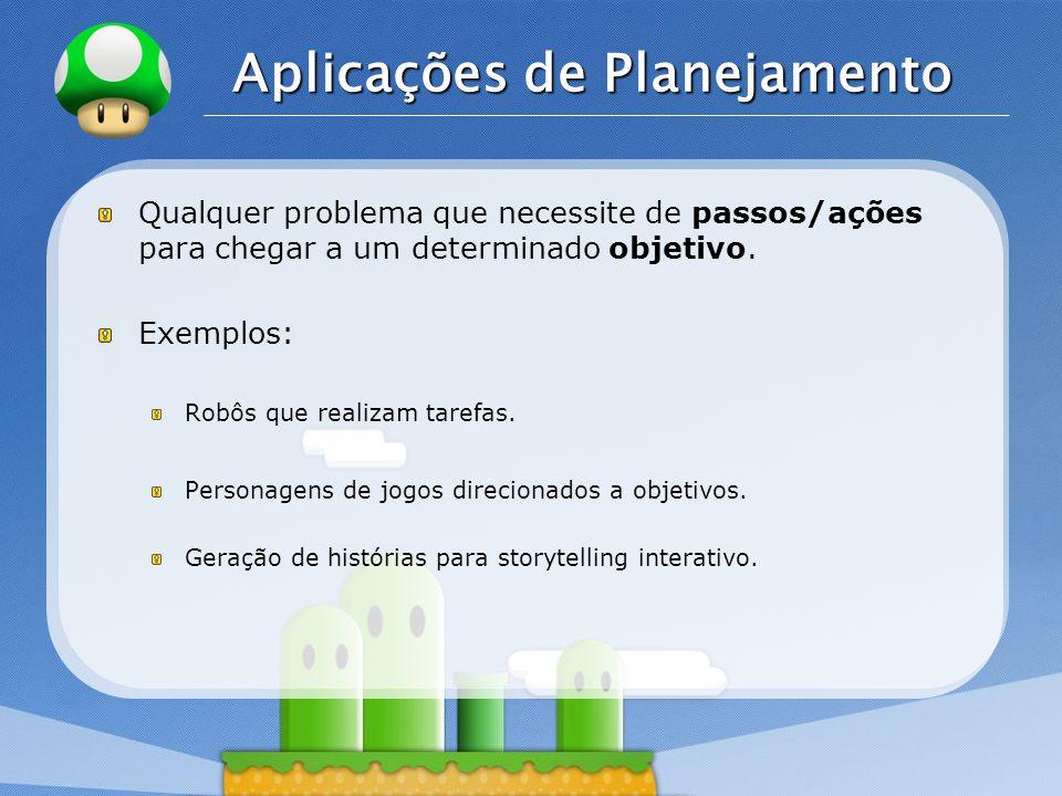 LOGO Aplicações de Planejamento Qualquer problema que necessite de passos/ações para chegar a um determinado objetivo.