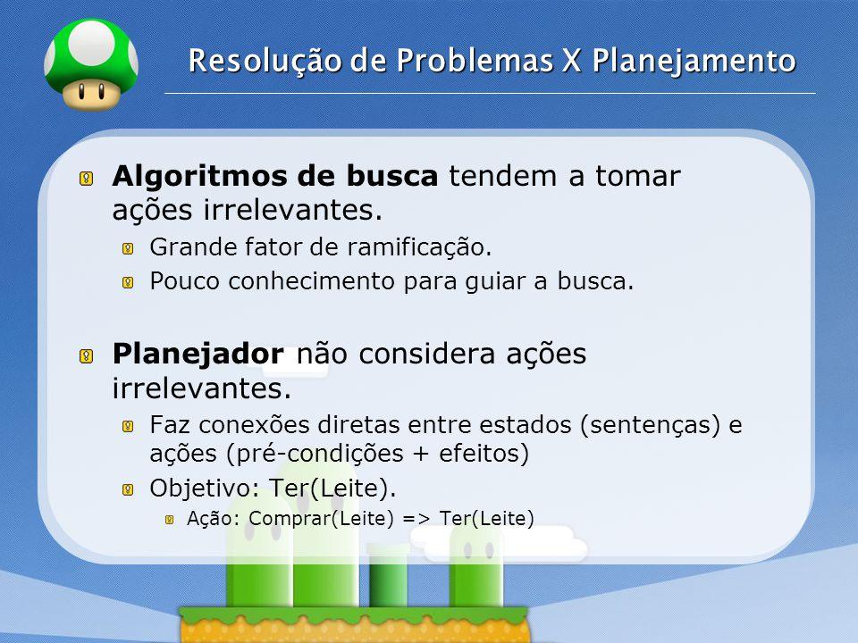 LOGO Resolução de Problemas X Planejamento Algoritmos de busca tendem a tomar ações irrelevantes.