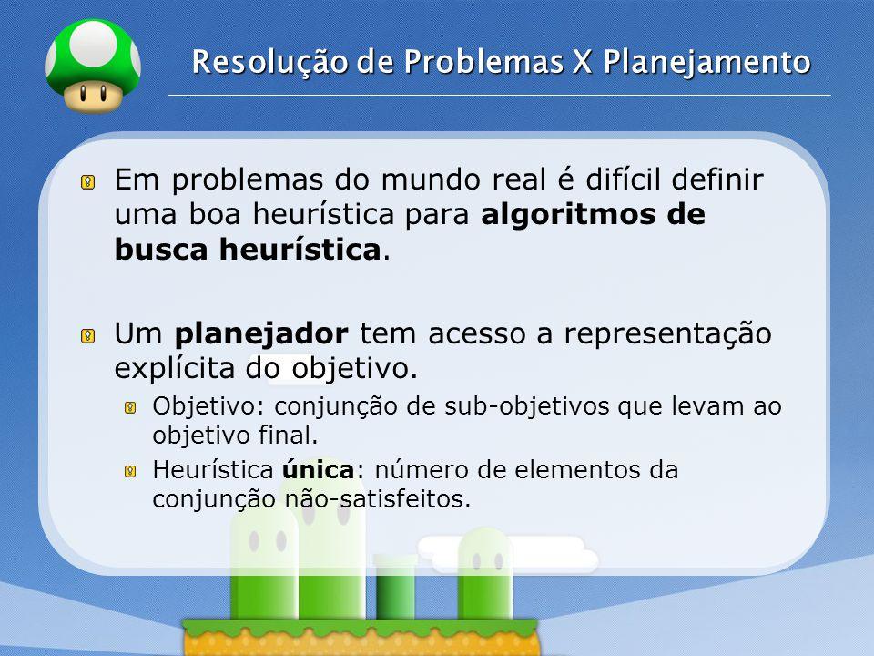LOGO Resolução de Problemas X Planejamento Em problemas do mundo real é difícil definir uma boa heurística para algoritmos de busca heurística.