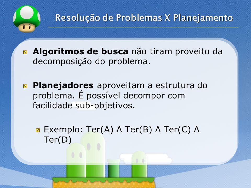 LOGO Resolução de Problemas X Planejamento Algoritmos de busca não tiram proveito da decomposição do problema.