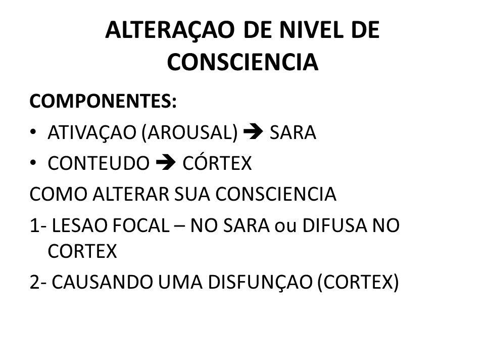 ALTERAÇAO DE NIVEL DE CONSCIENCIA COMPONENTES: ATIVAÇAO (AROUSAL) SARA CONTEUDO CÓRTEX COMO ALTERAR SUA CONSCIENCIA 1- LESAO FOCAL – NO SARA ou DIFUSA NO CORTEX 2- CAUSANDO UMA DISFUNÇAO (CORTEX)