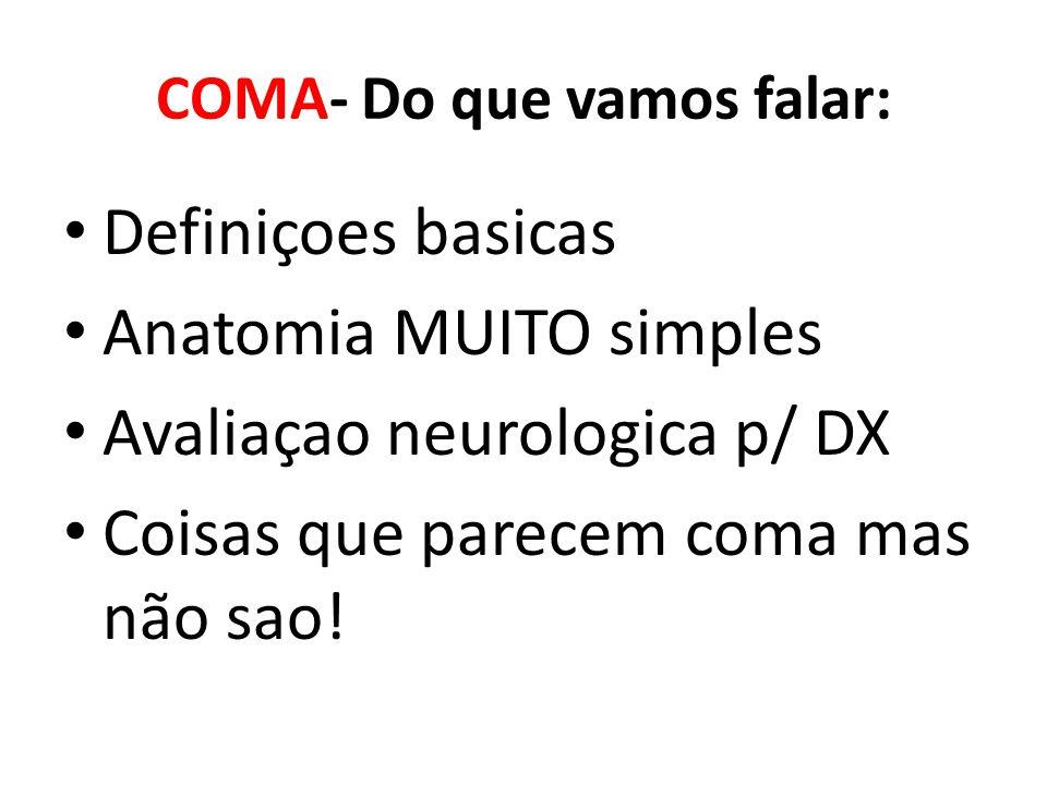 COMA- Do que vamos falar: Definiçoes basicas Anatomia MUITO simples Avaliaçao neurologica p/ DX Coisas que parecem coma mas não sao!
