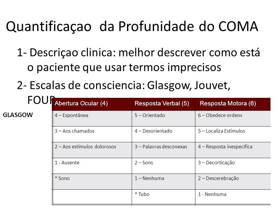 Quantificaçao da Profunidade do COMA 1- Descriçao clinica: melhor descrever como está o paciente que usar termos imprecisos 2- Escalas de consciencia: Glasgow, Jouvet, FOUR GLASGOW