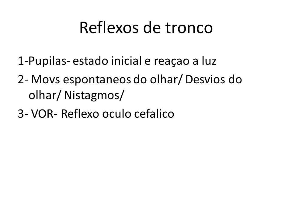 Reflexos de tronco 1-Pupilas- estado inicial e reaçao a luz 2- Movs espontaneos do olhar/ Desvios do olhar/ Nistagmos/ 3- VOR- Reflexo oculo cefalico