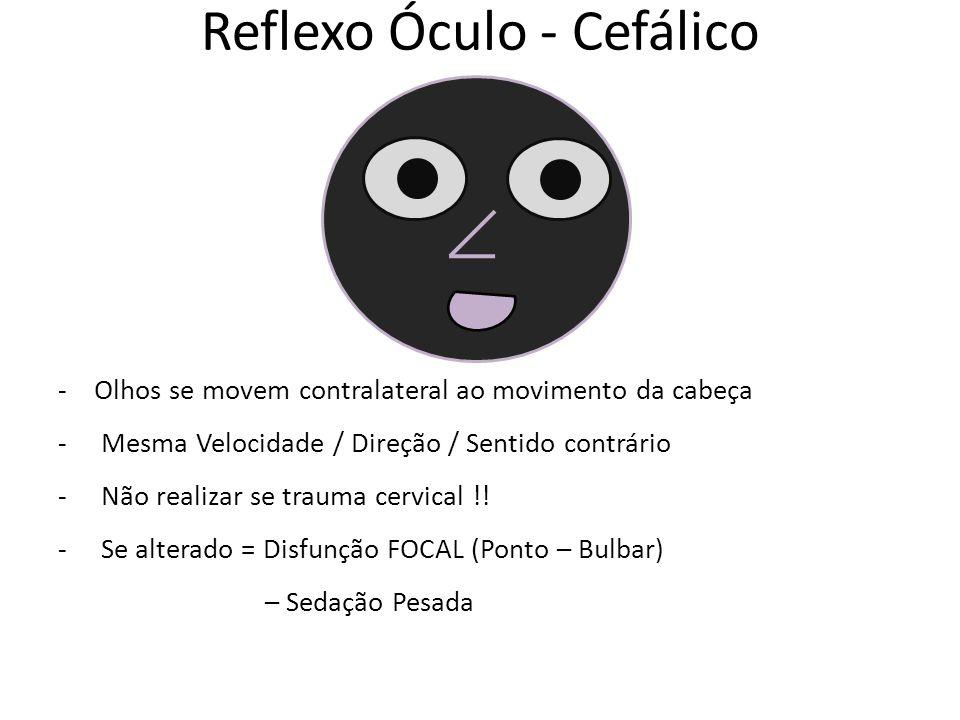 Reflexo Óculo - Cefálico -Olhos se movem contralateral ao movimento da cabeça - Mesma Velocidade / Direção / Sentido contrário - Não realizar se trauma cervical !.