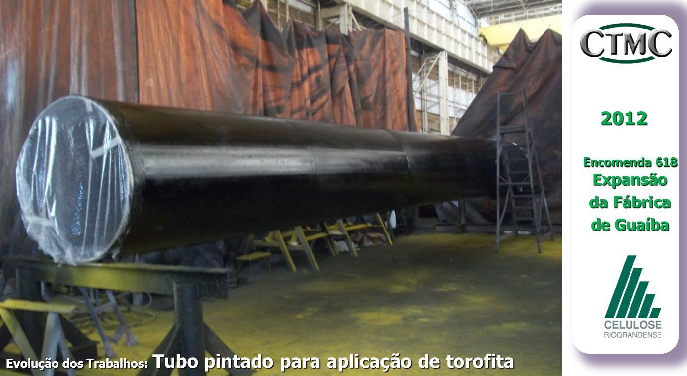 2012 Encomenda 618 Expansão da Fábrica de Guaíba Evolução dos Trabalhos: Tubo pintado para aplicação de torofita