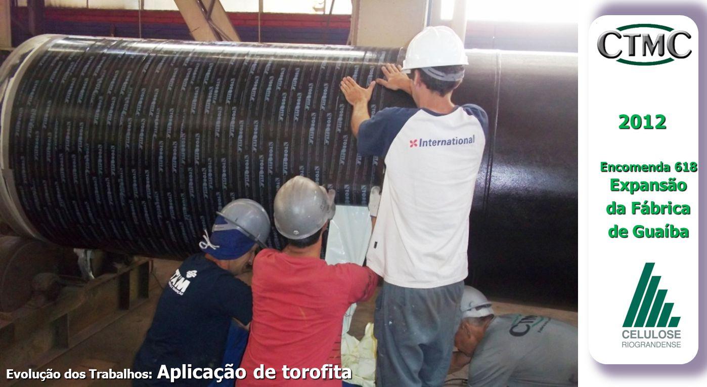 2012 Encomenda 618 Expansão da Fábrica de Guaíba Evolução dos Trabalhos: Aplicação de torofita