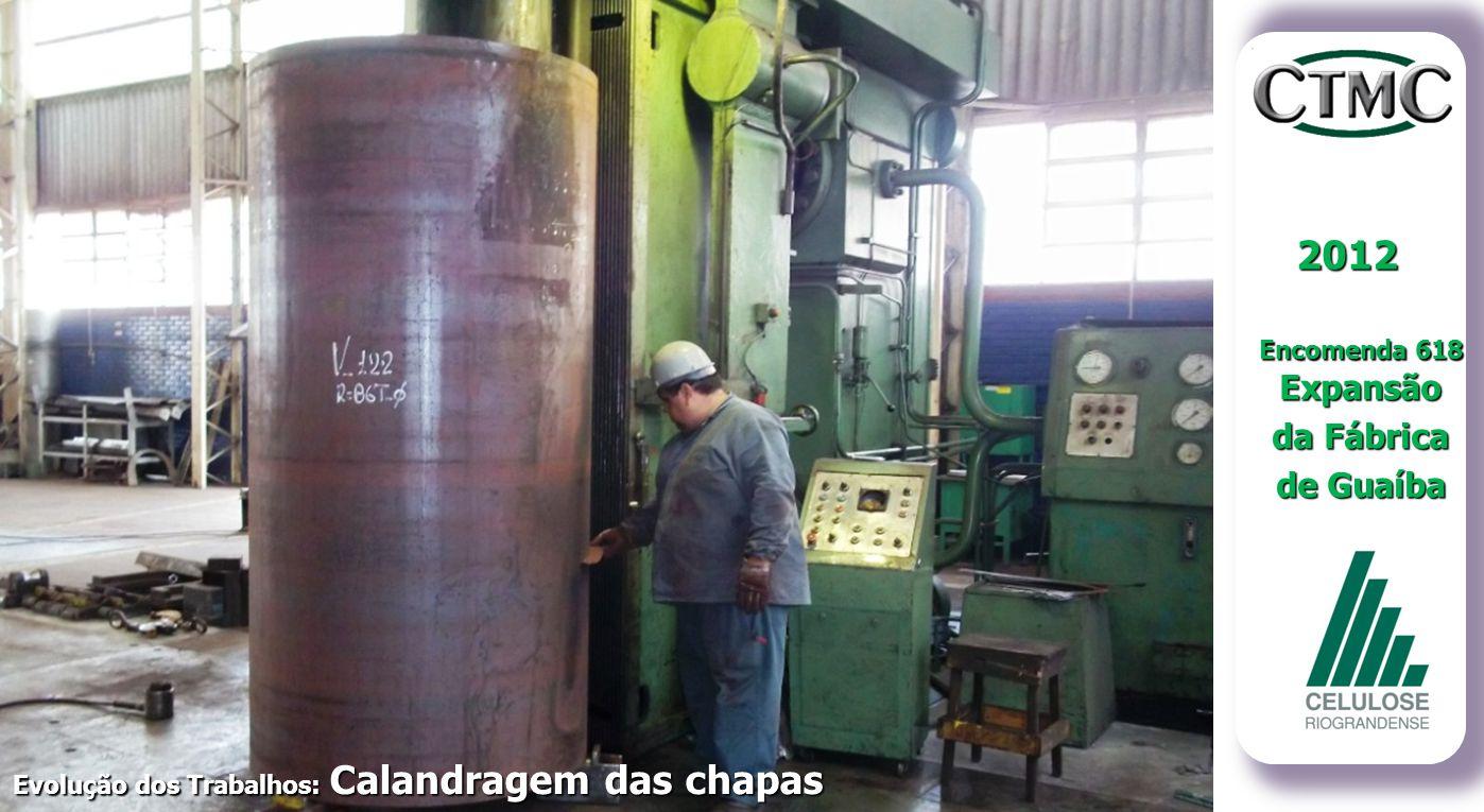 Evolução dos Trabalhos: Calandragem das chapas 2012 Encomenda 618 Expansão da Fábrica de Guaíba