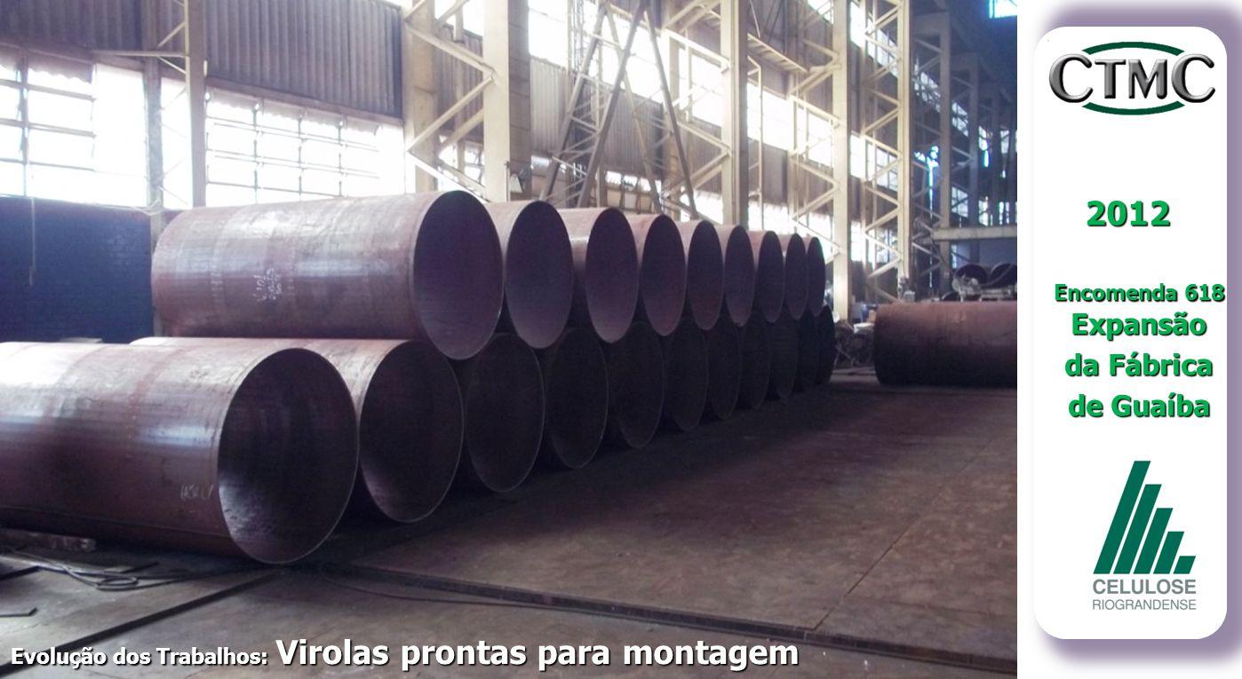 2012 Encomenda 618 Expansão da Fábrica de Guaíba Evolução dos Trabalhos: Virolas prontas para montagem