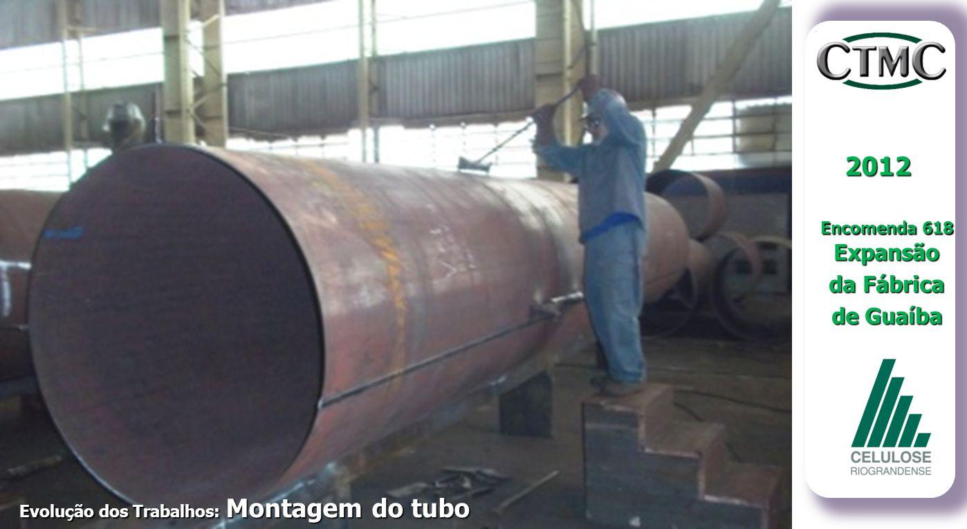 2012 Encomenda 618 Expansão da Fábrica de Guaíba Evolução dos Trabalhos: Montagem e Calibragem dos Tubos Evolução dos Trabalhos: Montagem do tubo