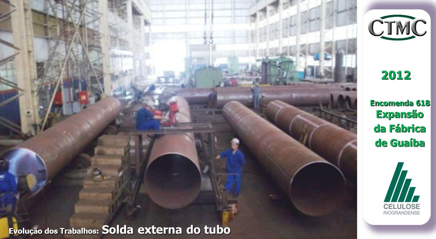 2012 Encomenda 618 Expansão da Fábrica de Guaíba Evolução dos Trabalhos: Solda dos Tubos Evolução dos Trabalhos: Solda externa do tubo