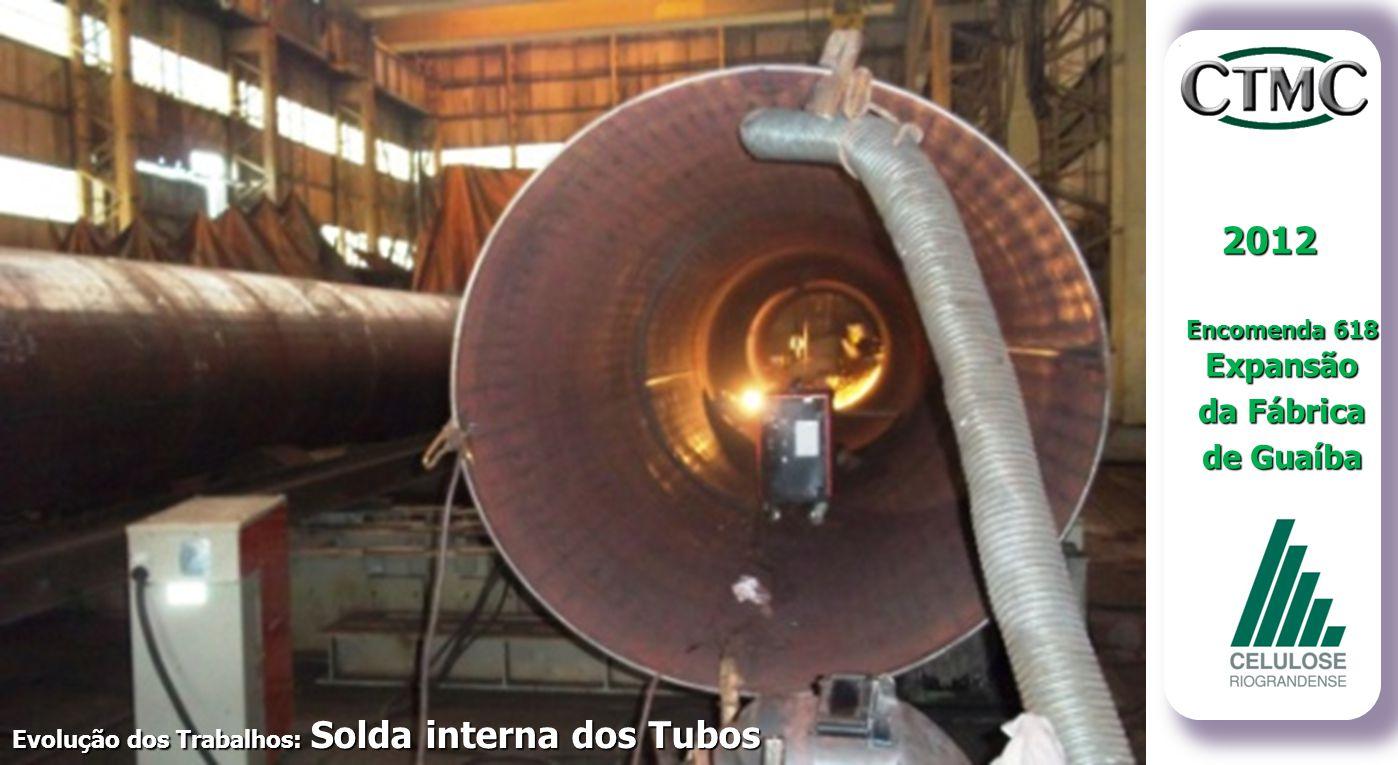 2012 Encomenda 618 Expansão da Fábrica de Guaíba Evolução dos Trabalhos: Solda interna dos Tubos