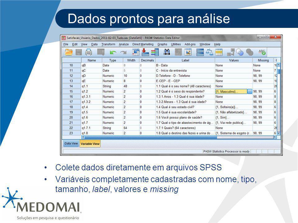 Dados prontos para análise Colete dados diretamente em arquivos SPSS Variáveis completamente cadastradas com nome, tipo, tamanho, label, valores e mis