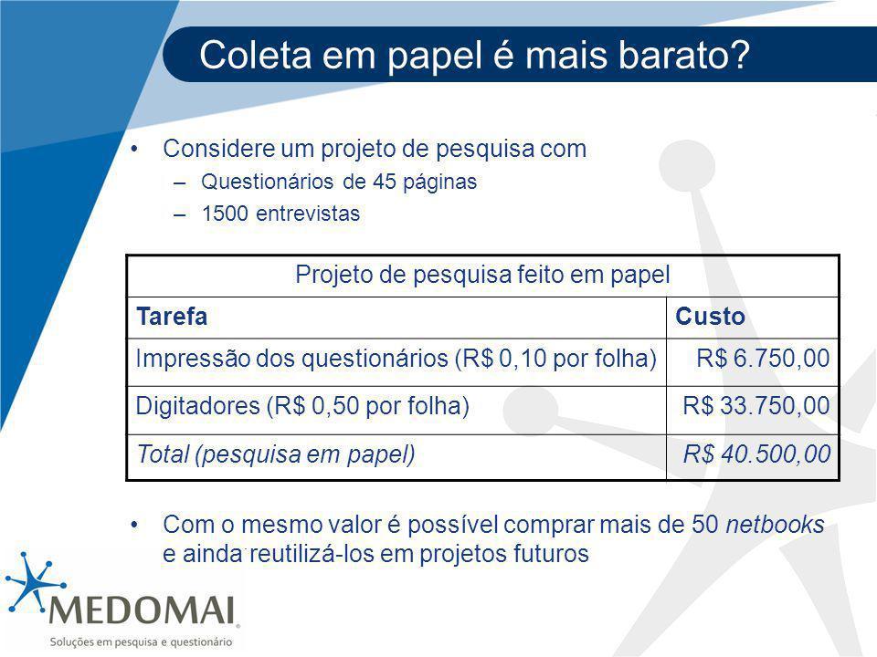 Coleta em papel é mais barato? Projeto de pesquisa feito em papel TarefaCusto Impressão dos questionários (R$ 0,10 por folha)R$ 6.750,00 Digitadores (