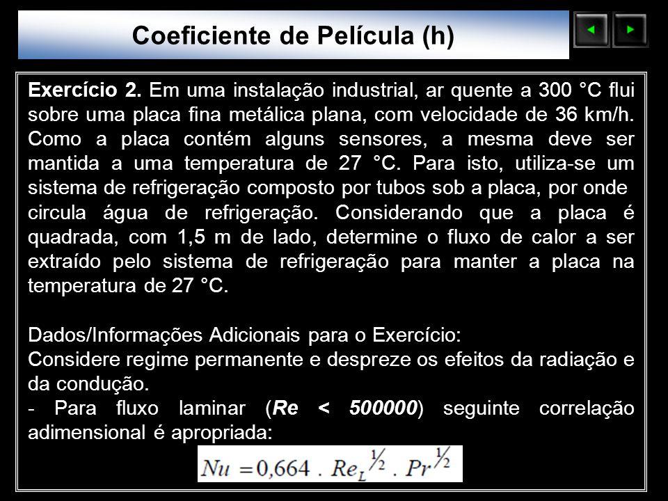 Sólidos Moleculares Exercício 2. Em uma instalação industrial, ar quente a 300 °C flui sobre uma placa fina metálica plana, com velocidade de 36 km/h.