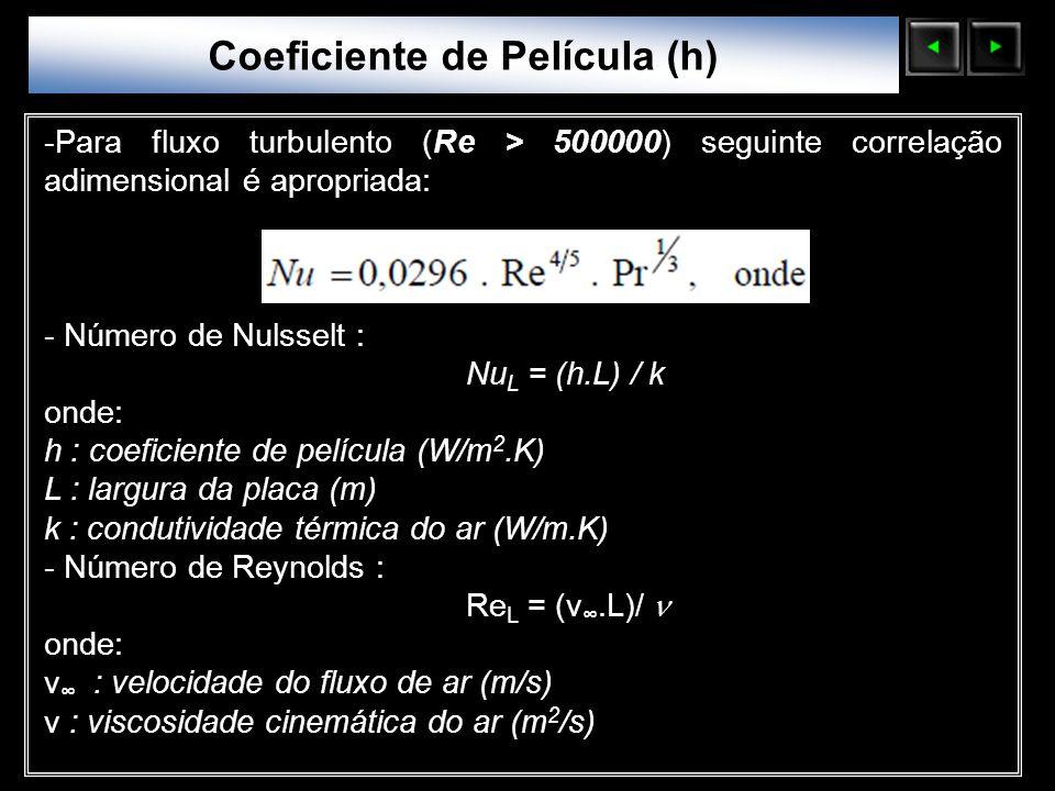 Sólidos Moleculares -Para fluxo turbulento (Re > 500000) seguinte correlação adimensional é apropriada: - Número de Nulsselt : Nu L = (h.L) / k onde: