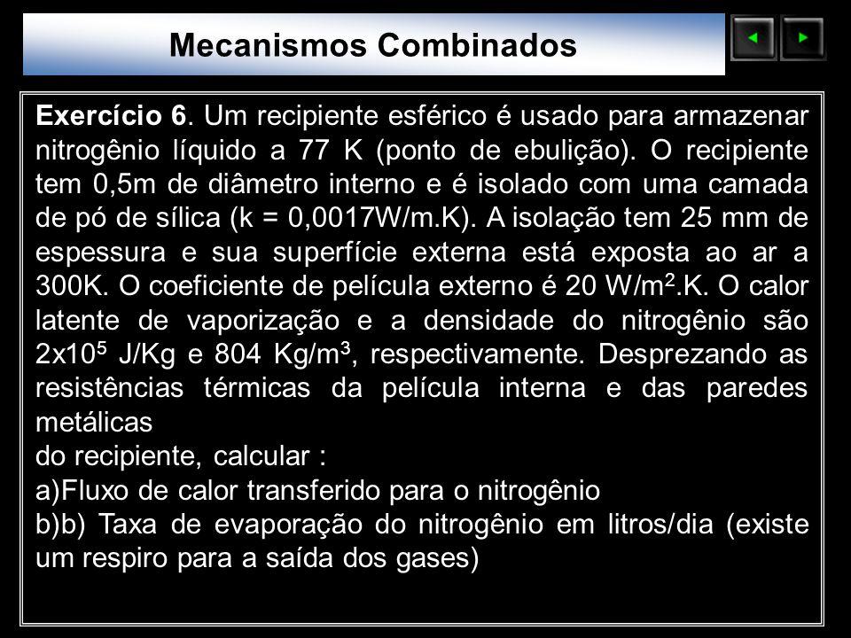 Sólidos Moleculares Exercício 6. Um recipiente esférico é usado para armazenar nitrogênio líquido a 77 K (ponto de ebulição). O recipiente tem 0,5m de
