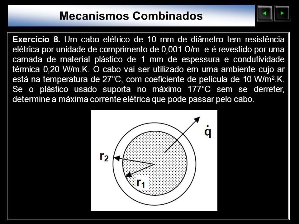 Sólidos Moleculares Exercício 8. Um cabo elétrico de 10 mm de diâmetro tem resistência elétrica por unidade de comprimento de 0,001 Ω/m. e é revestido