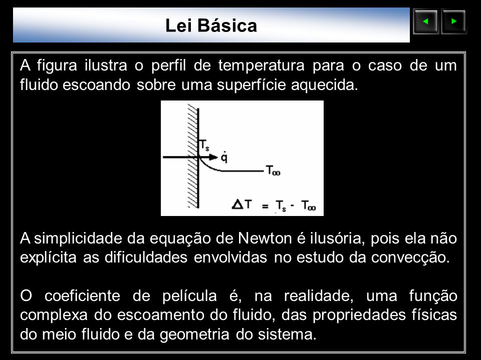 Sólidos Moleculares Lei Básica A figura ilustra o perfil de temperatura para o caso de um fluido escoando sobre uma superfície aquecida. A simplicidad
