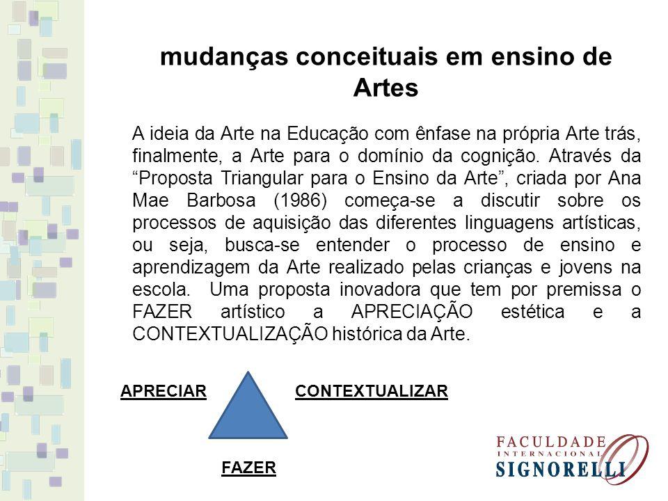 mudanças conceituais em ensino de Artes A ideia da Arte na Educação com ênfase na própria Arte trás, finalmente, a Arte para o domínio da cognição. At