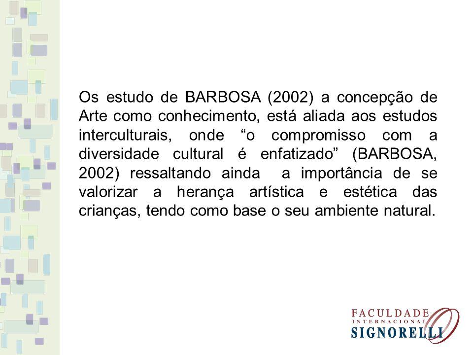 Os estudo de BARBOSA (2002) a concepção de Arte como conhecimento, está aliada aos estudos interculturais, onde o compromisso com a diversidade cultur