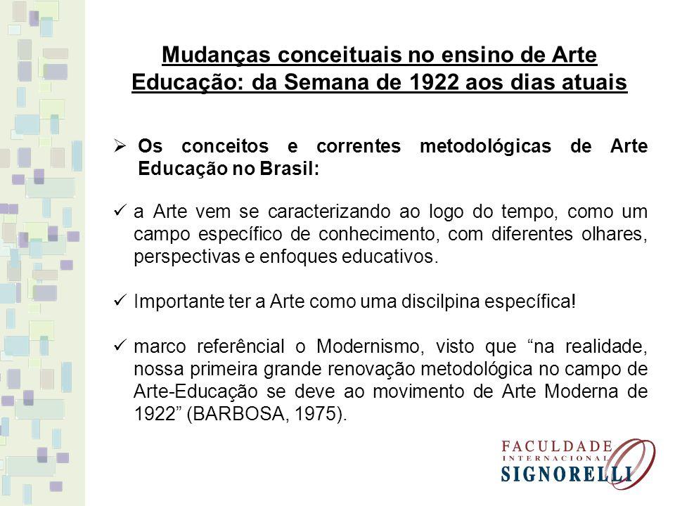 Mudanças conceituais no ensino de Arte Educação: da Semana de 1922 aos dias atuais Os conceitos e correntes metodológicas de Arte Educação no Brasil: