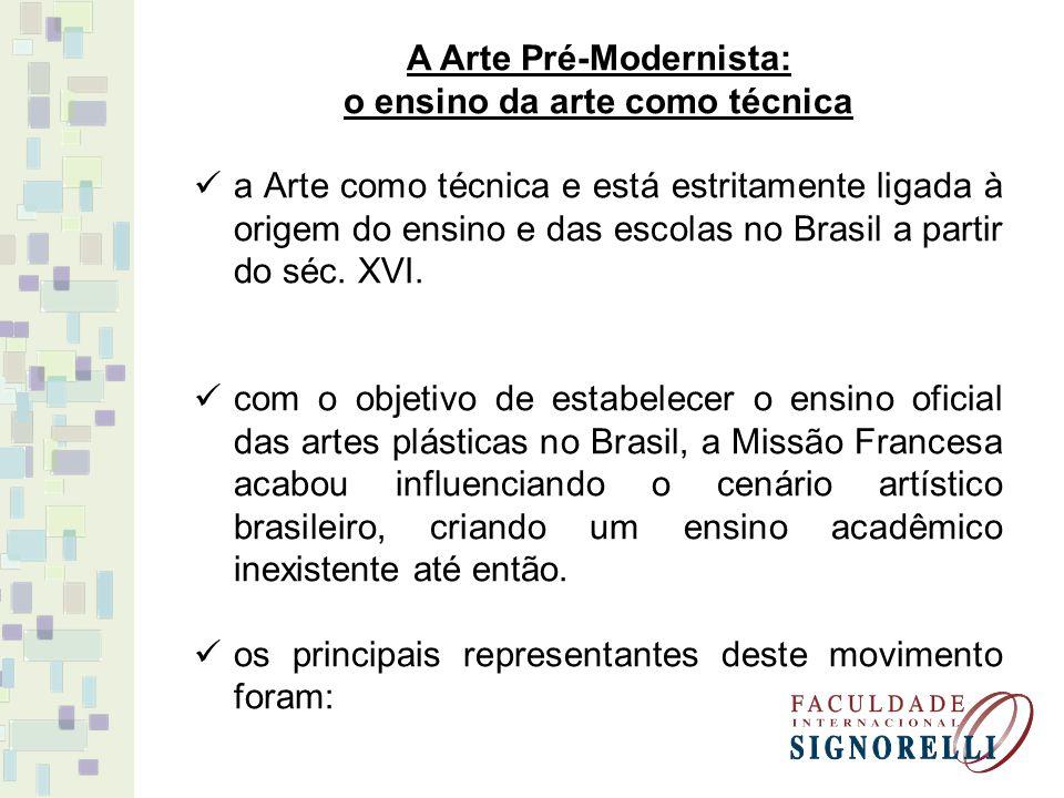 A Arte Pré-Modernista: o ensino da arte como técnica a Arte como técnica e está estritamente ligada à origem do ensino e das escolas no Brasil a parti